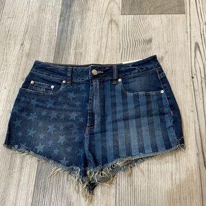 PINK Denim American Cheeky Cut Off Shorts